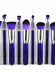 10pcs pourpres&professionnels kits de jeux de maquillage argent brosses cosmétiques maquillage outil pinceau kabuki