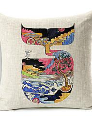 образчиком кит хлопок / лен декоративная подушка крышка