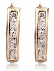 pont en arc de la mode forme cristal de zircon or alliage stud la boucle d'oreille des femmes (1 paire)