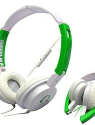 ouvido de 3,5 mm sobre a orelha baixo dobrável com microfone para telefones e pc