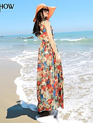 MiShow®Women's Round Collar  Bohemian Style Design Sleeveless Chiffon Slim Flowers Print Maxi Beach Dress