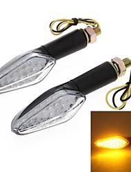 2pcs moto giallo 18 led accendere la luce di segnale lampadina lampeggiante lente dc12v 10 millimetri