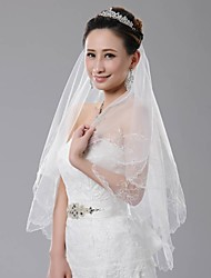Luxurious One-Tier Floral Embroidery Scallop Edge Veil Fingertip Length