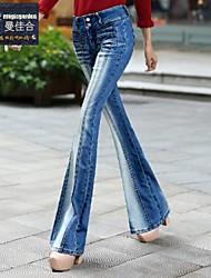 magicgarden®: jeans skinny 2014 outono inverno novo trecho de cintura alta calças de brim grandes piratas mulheres sexy