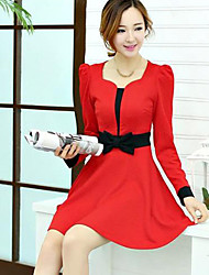 Women's Casual Color Block A Line / Skater Dress , Asymmetrical Knee-length Polyester