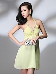 Women's  Deep V Neck Manual Bead Drill Abundance Backless Dress