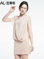 abito estivo elegante inclinato-collo vestito di un pezzo chiffon di eral®women con ruches e diamanti