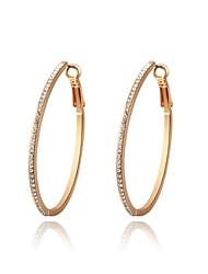 mode coréenne monocristal or zircon alliage cerceau boucle d'oreille des femmes (1 paire)