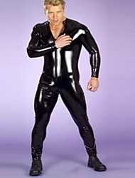 s de los hombres del boxeador completo del cuerpo medias de cuero negro de la PU uniformes sexy