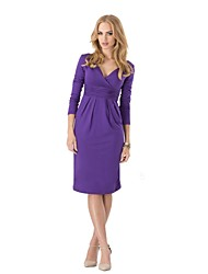 Women's Solid Blue/Red/Black/Brown/Purple/Gray Dress , Casual Deep V Long Sleeve