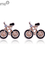 vélo boucles d'oreilles motif de zircon (couleurs assorties) plaqué lureme®gold