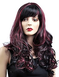 New Arrival  Capless Long Black Mixed Red Synthetic Wig with Side Bang
