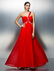 TS Couture Prom Formal Evening Dress - Elegant A-line One Shoulder Floor-length Tulle with Beading Crystal Detailing Ruching