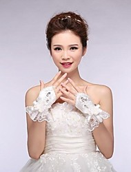 Elastic Satin Wrist Length Fingerless Wedding Gloves with Applique with Flowers with Crystal ASG15