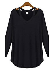 Women's Cut Out Casual/Daily Simple Spring/Fall T-shirt,Solid V Neck Long Sleeve White/Black/Gray Cotton Thin