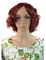 Workplace Women Cosplay Short Deep Wavy Hair Synthetic Wigs Red Wine with Free Hair Net