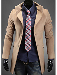 YESFLY Men's Long Sleeve Slim Fashion Lapel Neck Tweed Single-Breasted Overcoats
