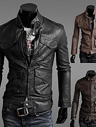 Джейсон мужские случайные пользовательских подходят PU кожаное пальто