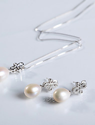 Jewelry Set Women's Special Occasion Jewelry Sets Sterling Silver Pearl Necklaces / Earrings Silver