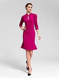Cocktail Party Dress Sheath/Column High Neck Knee-length Polyester