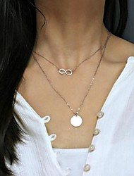 Women's 8 Simple Luck Word Sequined Double-layer Necklace