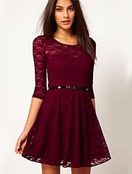 Lindas vestido ajustado sencilla moda casual de las mujeres
