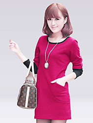 Delargent Women's Fashion Solid Color Slim Long Sleeve Dress