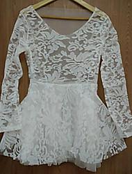 Kamengsi Women's Fashion Casual Lace Splicing Dress