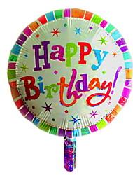 feliz aniversario colorido rodada balão metálico