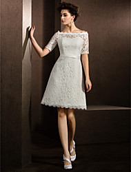 A-Line Illusion Neckline Knee Length Lace Wedding Dress with Sash / Ribbon by LAN TING BRIDE®