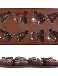8 trous de moules à chocolat de noël gâteau de série de la glace gelée, silicone 21,3 × 10,8 × 2,1 cm (8,4 × 4,3 × 0.8inch)