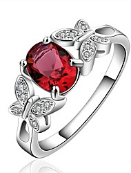 Cute Red Gem Ring Double Lifelike Butterfly Design Silver Plated Inlaid Stone CZ Zirconia Ring Fashion Crystal Jewelry Wholesale