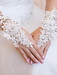 Openwork Short Wedding Flowers Fingerless Gloves Rhinestones Magnificent (More Colors)