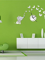 "22""H Modern Style Cartoon Animal Elephant Flowers Home decoration 3D DIY Acrylic Mirror Wall Clock"