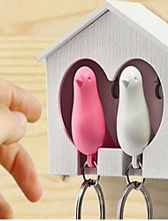 One Set of 2Pcs White Wood House Sparrow Bird Key Chain Random Color