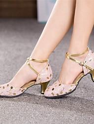 altos talones de las mujeres modernas zapatos de baile de cuero de tacón brillante cubanos (más colores)