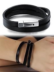 bracelet bijoux de façon simple en cuir multicouche titane acier boucle hommes