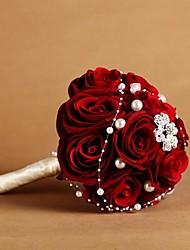 Classic Luxury Velvet Wine Red Rose bridal Wedding Bouquet