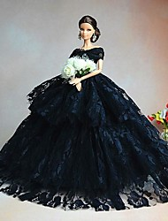 Barbie Doll Luxury Black Aristocrat Bride Wedding Dress