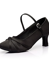 Women's Dance Shoes Modern Satin Heel Black/Brown Customizable