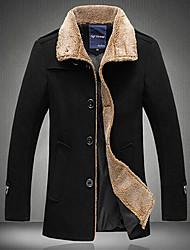 Wans Men's Fur Collar Long Sleeve Tweed Coat