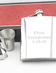 Personalized Gift Silver 18oz Stainless Steel Hip Flask Set