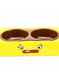 carré jaune bols doubles animal fournit de l'eau et le bol alimentaire de petite taille pour les chiens de compagnie