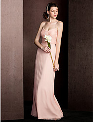 Floor-length Silk Bridesmaid Dress - Sheath / Column Spaghetti Straps with Draping / Ruching