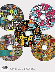 Personalized CD-R/DVD-R Recordable Disc Graffiti Pattern Different Designs Magic Gift (Set of 5)