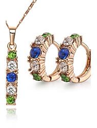 Z&X® Vintage 18K Gold Plated Stick Rhinestone Pendant Necklace Earrings Jewelry Set (1 set)