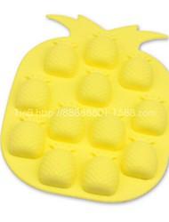 12 buracos moldes forma abacaxi bolo de gelo geléia de chocolate, silicone 18,5 × 14 × 1,5 centímetros (7,3 × 5,6 × 0.6inch)
