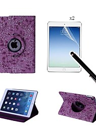 Grape Pattern PU Leather Full Body Case with Touch Pen and Protective Film 2 Pcs for iPad Air 2/iPad 6