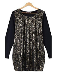Women's Lace/Patchwork Gold/Silver Dress , Casual/Lace/Plus Sizes Round Neck Long Sleeve
