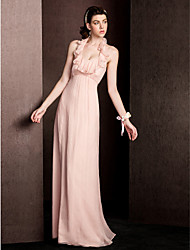 Sheath / Column Halter Floor Length Silk Bridesmaid Dress with Draping Ruffles